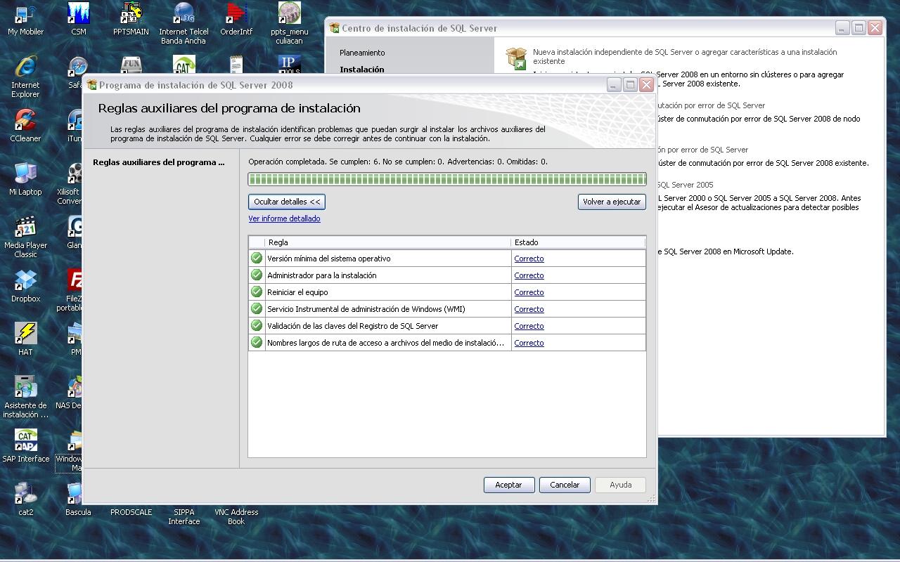 Microsoft SQL Server 2008 Setup - error - Reiniciar el equipo