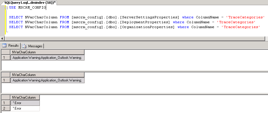 SQL query results from MSCRM_CONFIG table