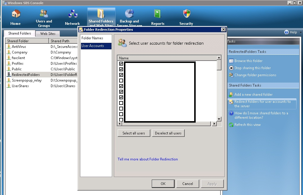 Microsoft-Windows-Folder Redirection Error 502  CSC database