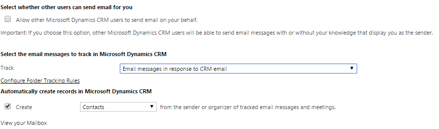 Track option for Outlook