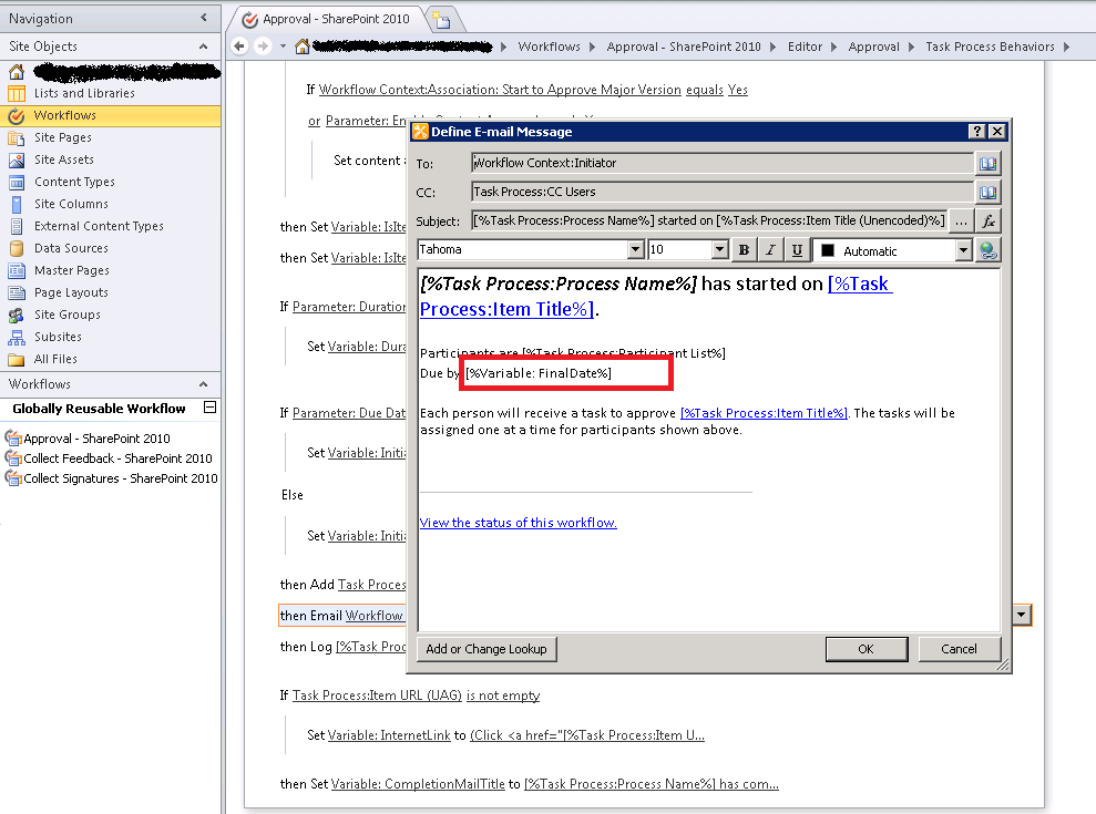 SharePoint 2010 Approval Workflow email - Date Issue