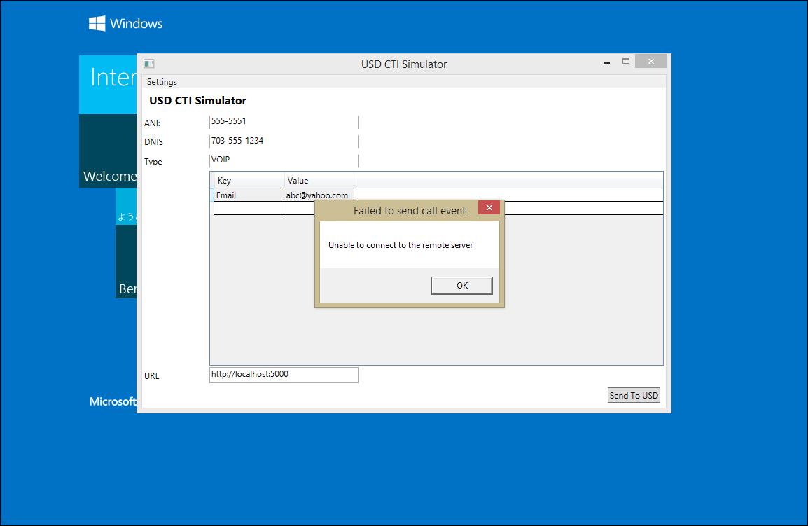 USD CTI Simulator - Unable to connect to the remove server